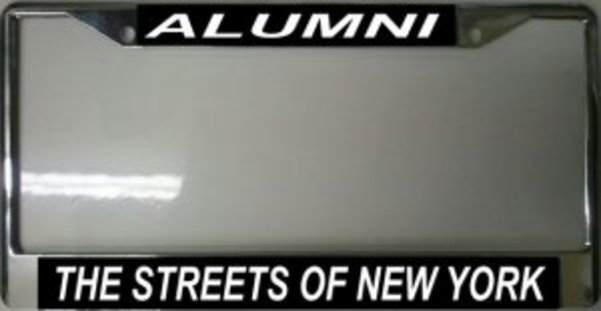 Streets Of NEW York Alumni Photo License Frame.  Free Screw Caps Included