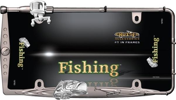 FISHING Black And Chrome License Plate Frame