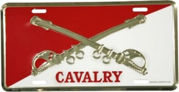 Cavalry Crossed SWORDs (Red & White) License Plate