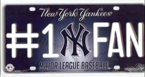 NEW York Yankees #1 Fan License Plate