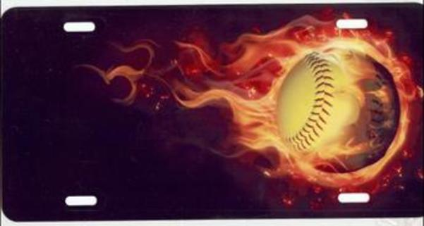 SOFTBALL with Real Flames License Plate Free Personalization on this plate