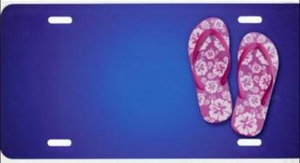 FLIP FLOPS on Blue Offset Airbrush License Plate Free Names on Air Brush