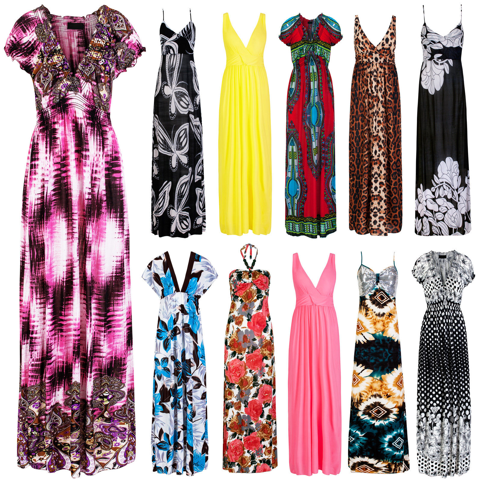 New-Womens-Long-Bright-Floral-Printed-Maxi-Dress-Ladies-Party-Summer-Size-8-20