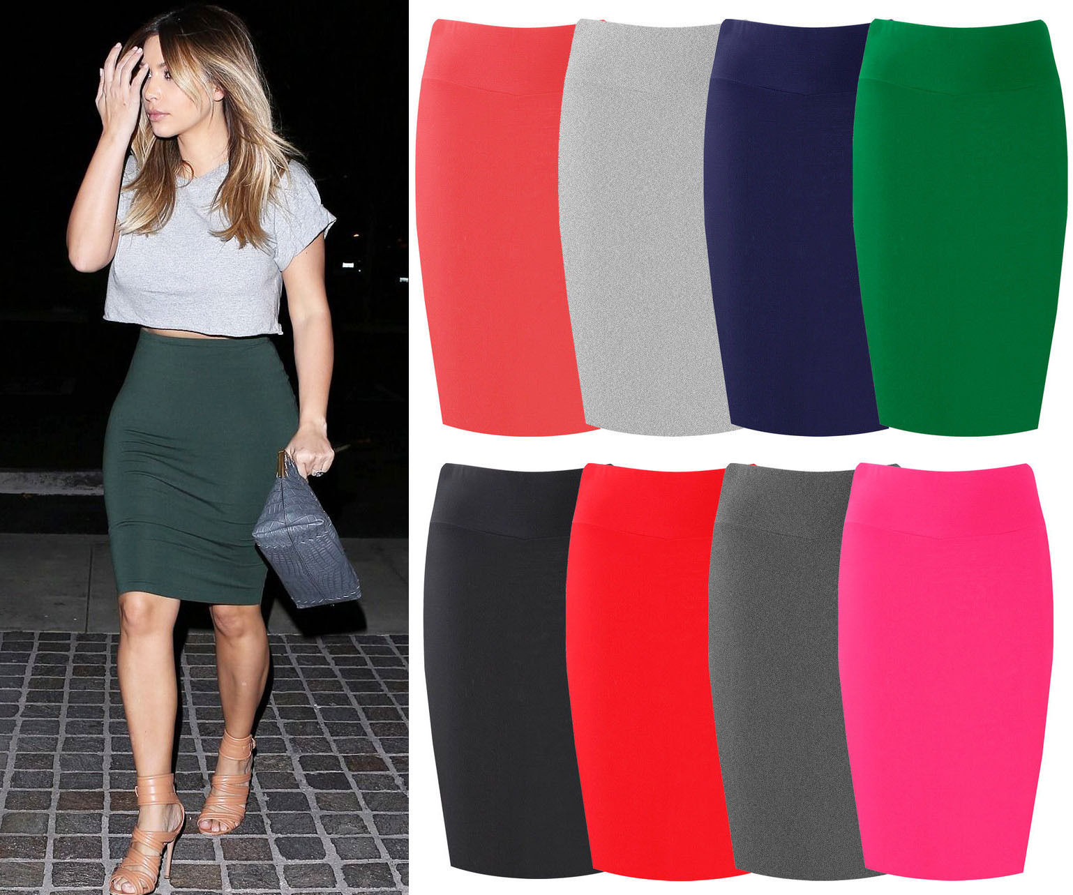 Womens-Midi-Pencil-Skirt-Ladies-Plain-Jersey-Bodycon-Tube-Skirt-Plus-Sizes-8-26