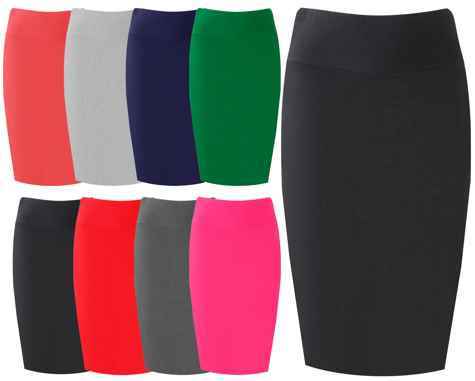Womens Midi Pencil Skirt Ladies Plain Jersey Bodycon Tube Skirt ...