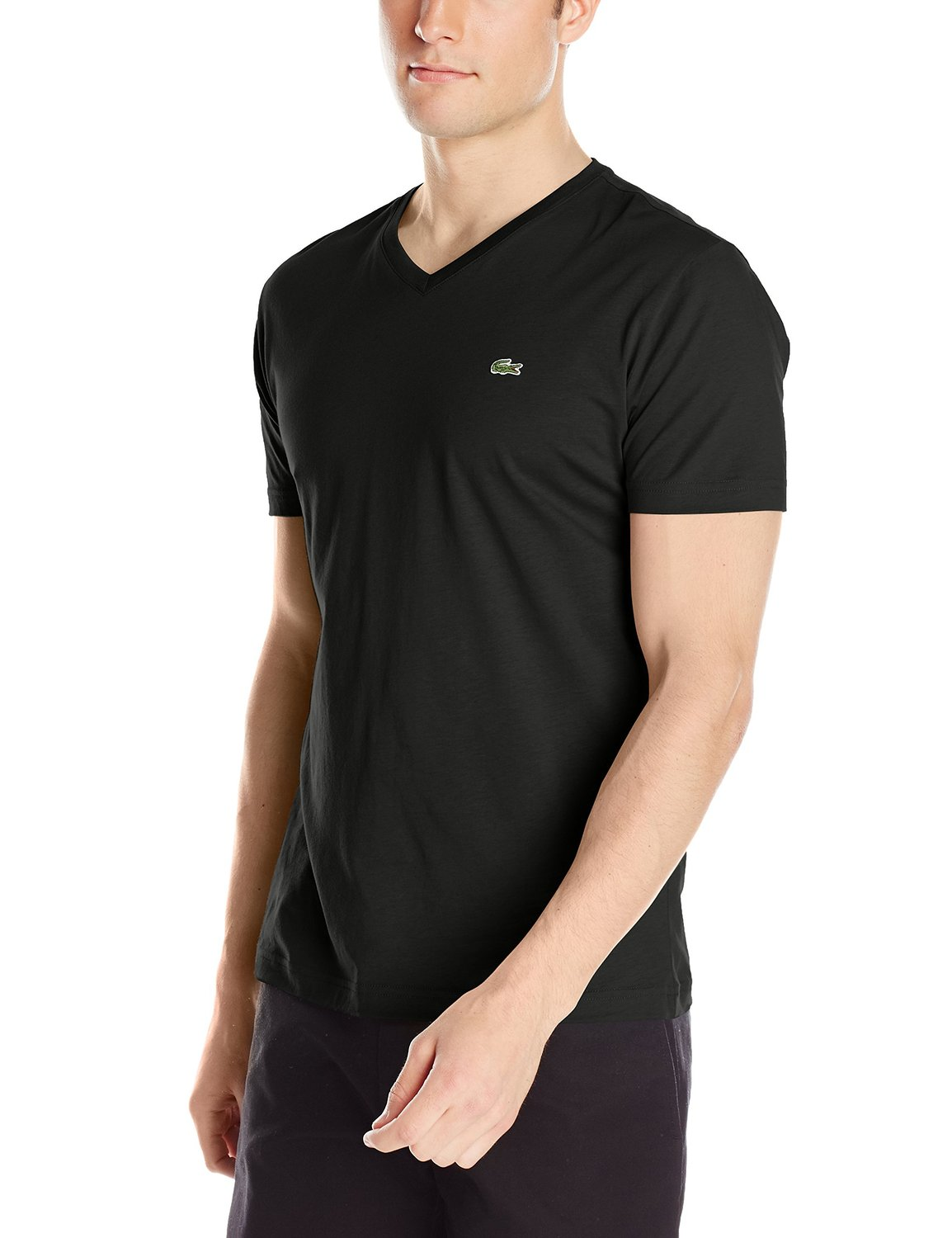 lacoste men 39 s short sleeve pima cotton v neck t shirt ebay. Black Bedroom Furniture Sets. Home Design Ideas