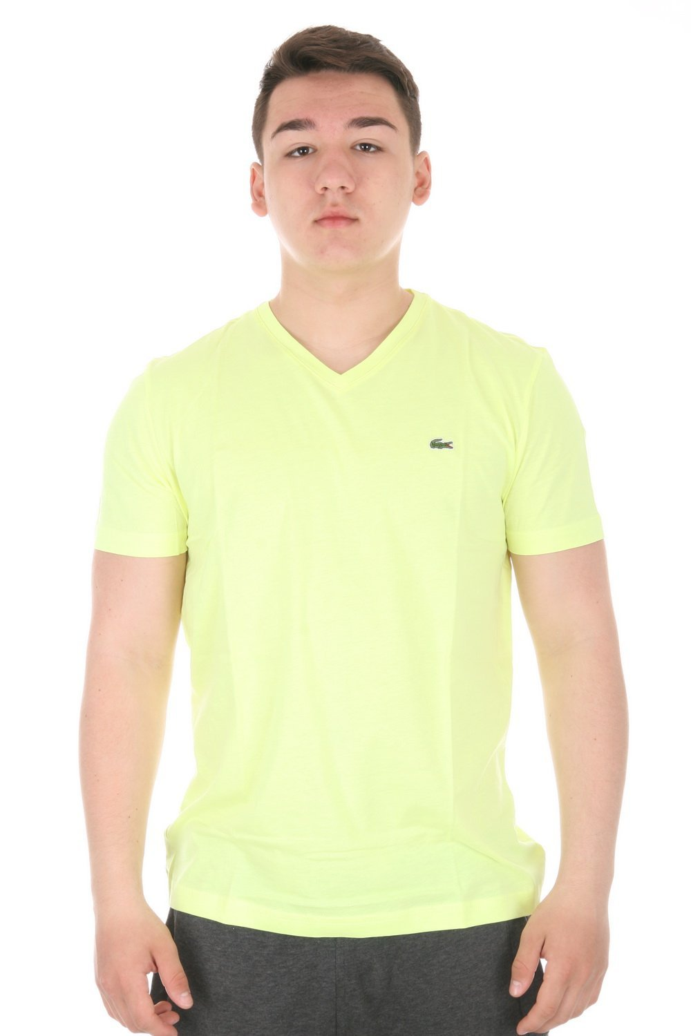 Lacoste men 39 s short sleeve pima cotton v neck t shirt ebay for Pima cotton tee shirts