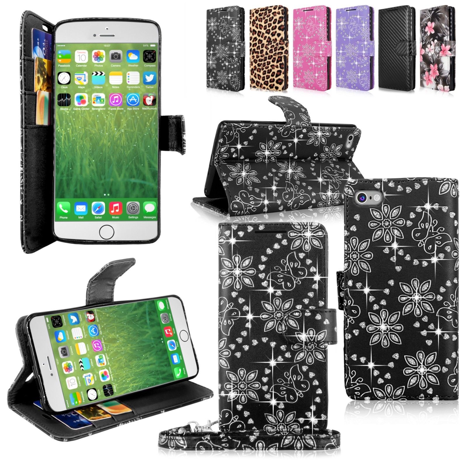 Bling Glitter Pu Leather Flip Wallet Pocket Case W/Strap For Many Phones Model