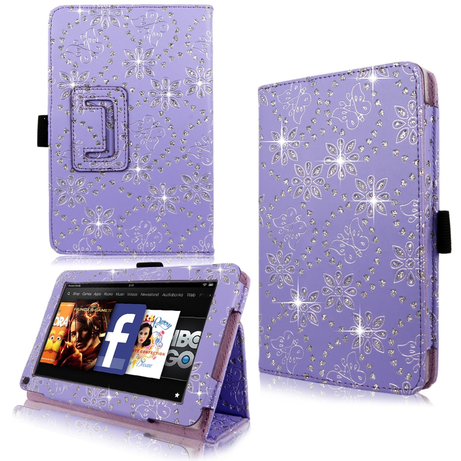 Bling diamond sparkly pu leather flip case cover for for Amazon casa