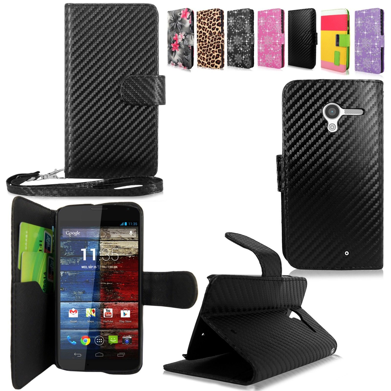 itm For Motorola Moto X XT Leather Wallet Card Pocket Flip Folio Stand New Case
