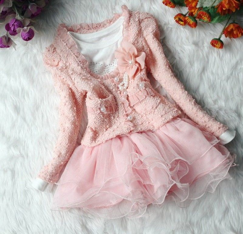 2Pcs Girl Outfit Jacket Tutu Top Dress Kids Skirt Pageant 3-6Y Flower Pearl New