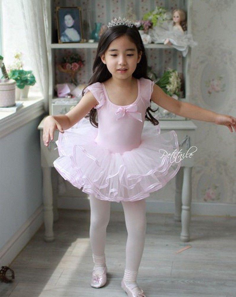 Girl Princess Dress Ballet Tutu Kid Leotard Dancewear 3-7Y Toddler Skate Clothes