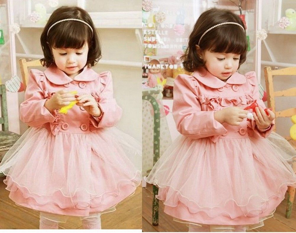 Toddler Girl Trench Wind Coat Jacket Clothing 2-7Y Kids Tulle Dress Outwear Pink
