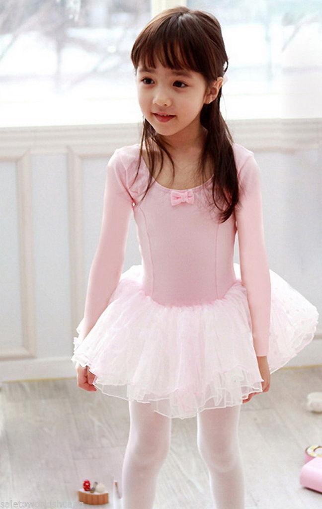 Girl Party Leotard Ballet Tutu Pink Long Sleeve Costume ...
