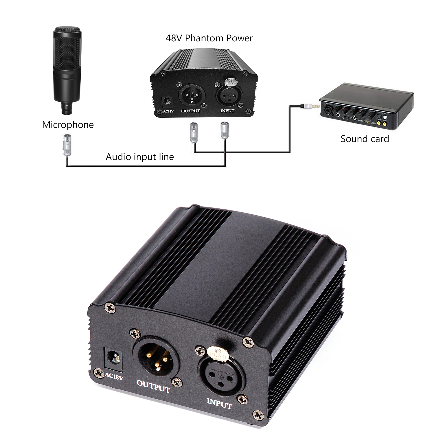 how to connect phantom power to microphone