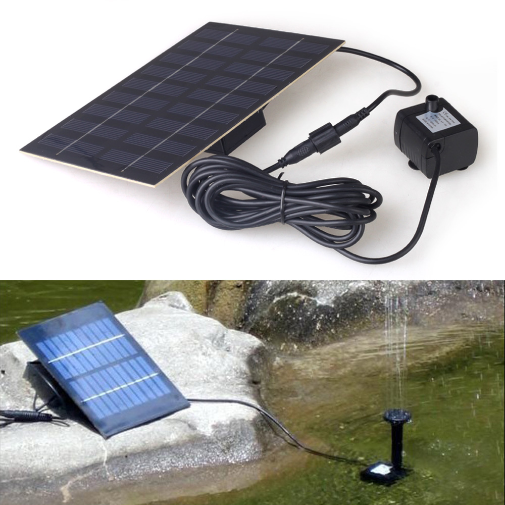 Floating solar panel power pump fountain pond watering kit for Solar pond pump