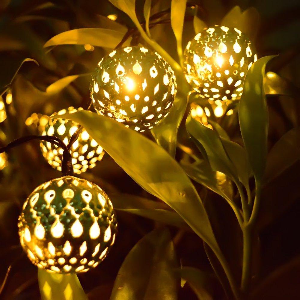Solar String Lights 20 Led Globe Lanterns String