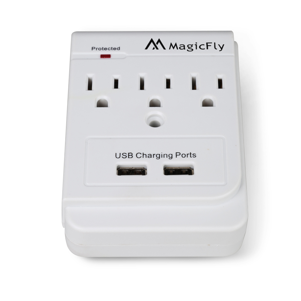 power 3 ac outlet wall mount surge protector with dual usb charging port usps ebay. Black Bedroom Furniture Sets. Home Design Ideas