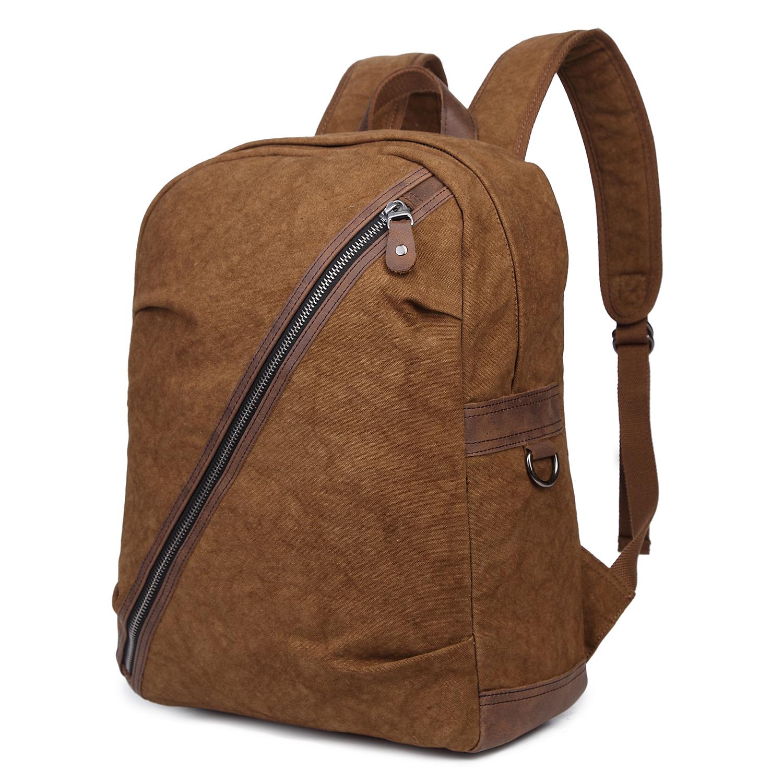 men 39 s vintage canvas leather 15 backpack rucksack laptop. Black Bedroom Furniture Sets. Home Design Ideas