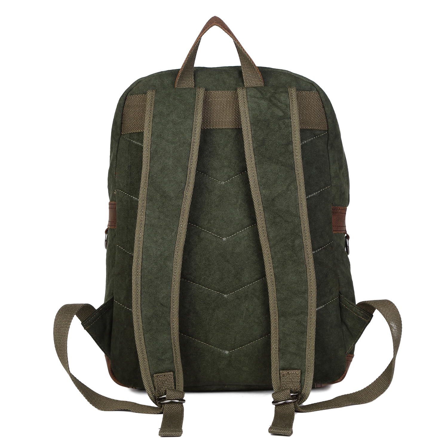 men 39 s vintage canvas leather 15 backpack rucksack laptop. Black Bedroom Furniture Sets. Home Design Ideas