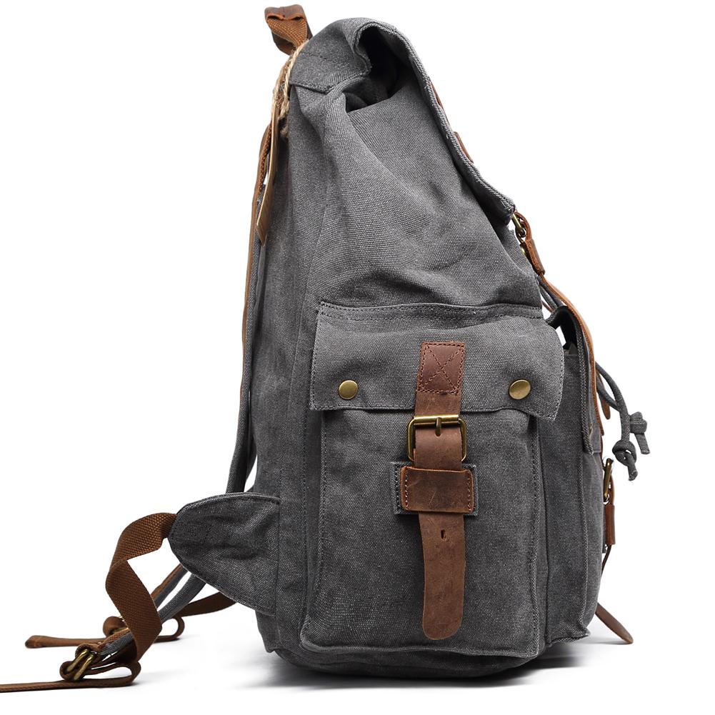 Super Fashion Vintage Canvas Leather Hiking Travel Backpack ...
