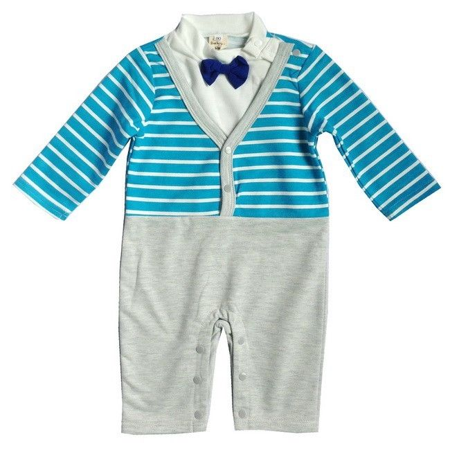 Christmas Party Trousers: Baby Boys Stripe Bow Tie Christmas Party Romper Pants