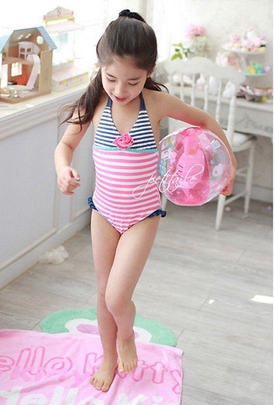 Girls Dot Stripe Flower Bikini Kid Swimsuit 2-8Y Swimwear Swim Costume Beachwear