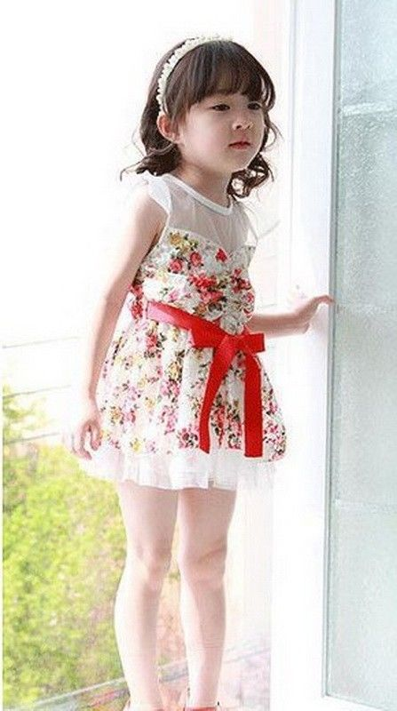 Girls Kids Pretty Baby Party Dress With Flower Dot Princess Tutu ...