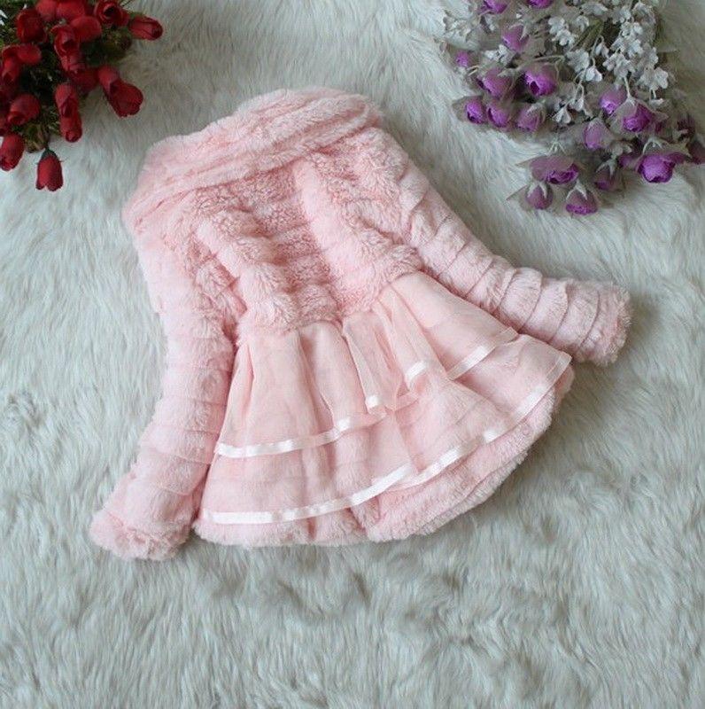 Girls Pearl Tops Coat Party Winter Warm Baby Jacket 1-5T Snowsuit Flower Outwear