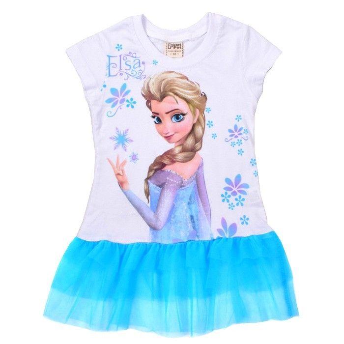 Girls Toddler Short Sleeve Tutus Kids 2-7Y Top T-Shirt Dress Elsa Anna Princess