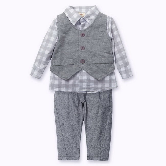 Boy Baby Outfits Jumpsuit Toddler Shirt Vest Pants Plaid 0-24M Sets Jacket 3PCS