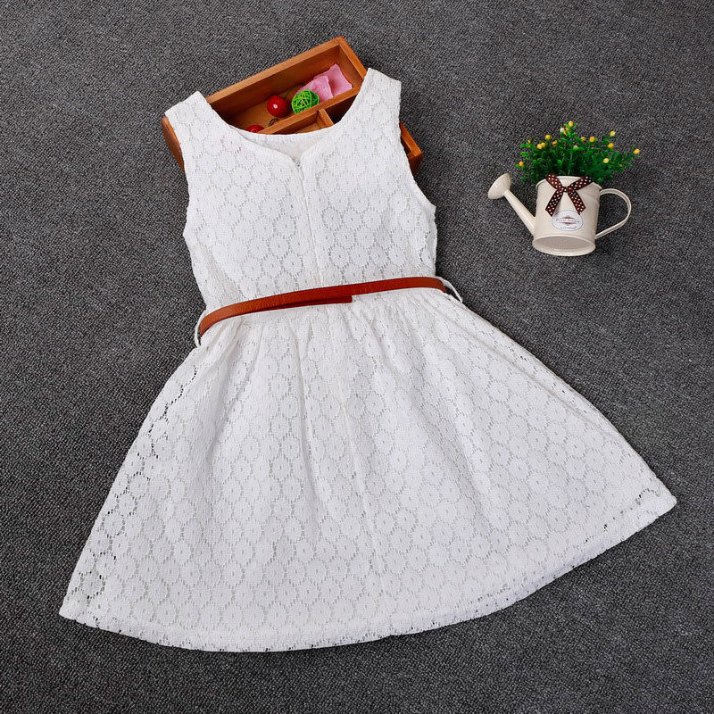 Princess Girl Dress Kids Party Solid Lace Sleeveless Cotton Lace Skirt with Blet