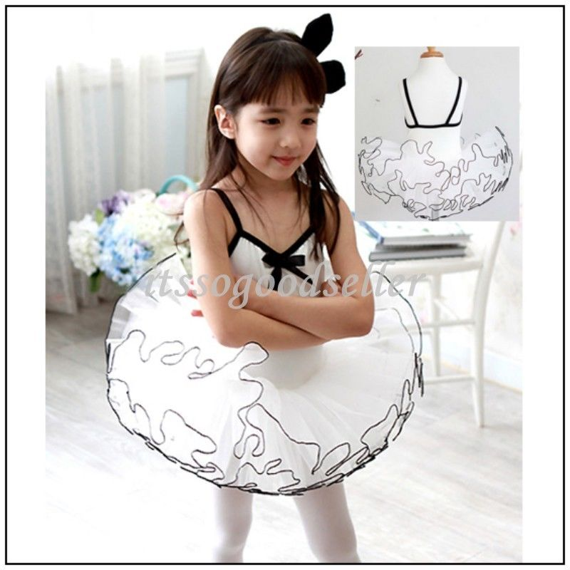 Girl-Party-Long-Sleeve-Leotard-Pink-Ballet-Dance-Tutu-Dress-3-8Y-White-Costume