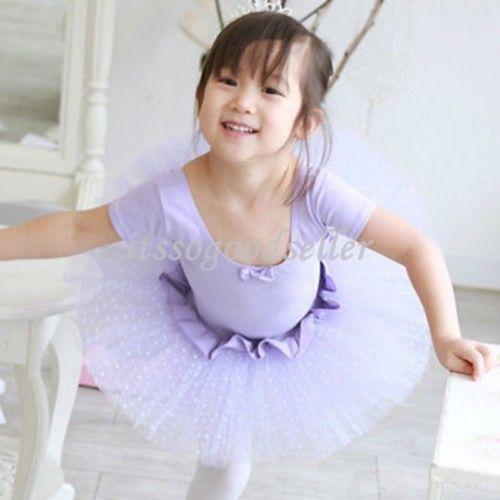Kids-Girls-Leotard-Skate-Costume-Ballet-Bowknot-Dot-Tutu-Dress-Purple-Pink-3-8Y