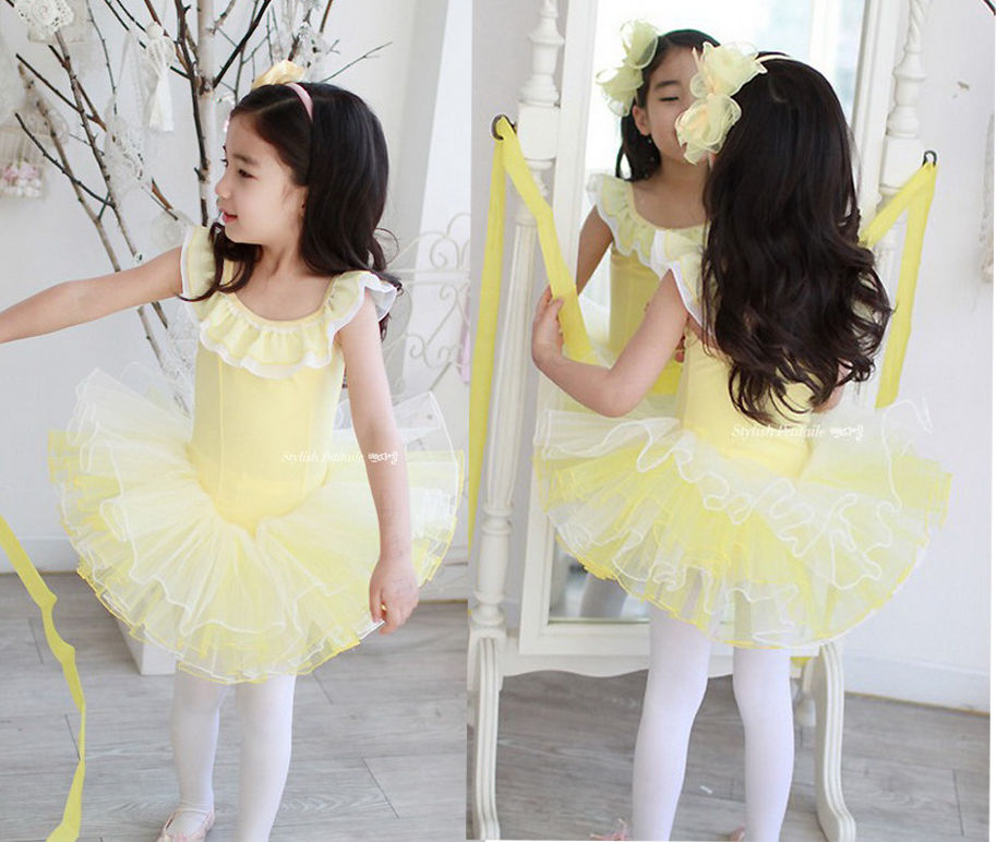 NWT Girl Party Leotard Ballet Tutu Kids Dance Dress 6-12Y Fairy Skate Costume