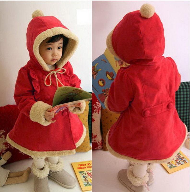 Baby Girls Winter Coat Jackets 1-5Y Warm Snowsuit Hoodies Clothes Fleece Outwear