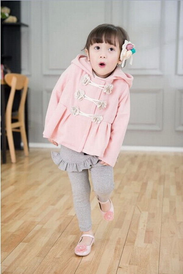 Girls Kids Winter Warm Coat Jacket Snowsuit Hoodies Outwear 2-7Y Flower Clothing
