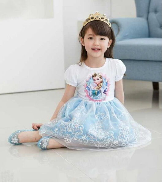 Girls Ballet Tutu Fancy Dress 2-7Y Kids Skirts Clothes Party Cosplay Elsa Frozen
