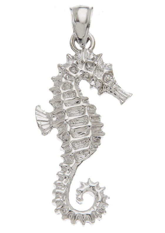 New 0.925 Sterling Silver Seahorse Sea Horse Charm Pendant