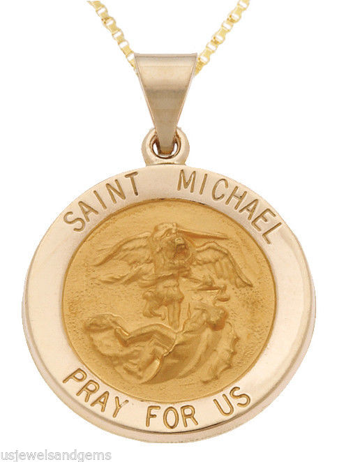 14k Yellow Gold Saint St. Michael Religious Medal Pendant Necklace