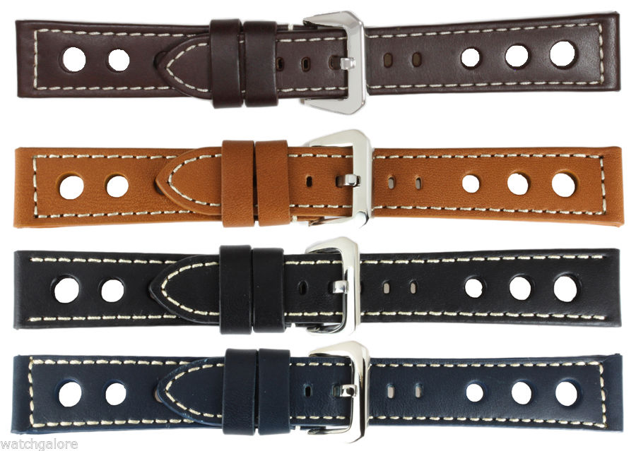New-Men-039-s-3-Rally-Holes-Calf-Leather-Strap-Watch-Band