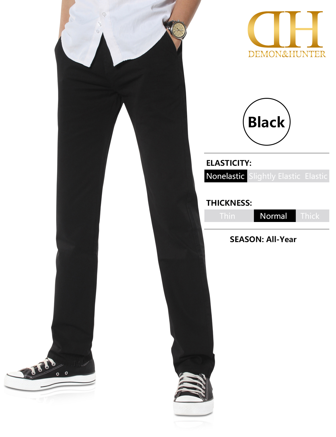 Demon/&Hunter 900X Classic-Fit Series Men/'s Chinos Trousers