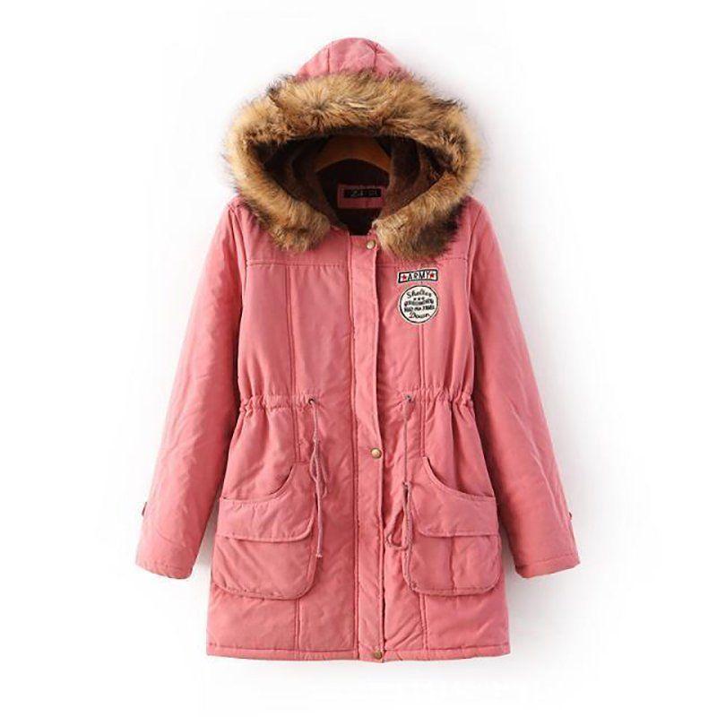 Women Winter Warm Coat Parka  Thicken Fur Collar Overcoat Long  Outwear Jacket