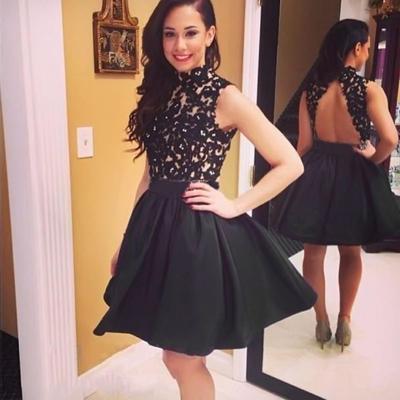 Sexy Women Sleeveless Evening Party Cocktail Black Lace Short Mini ...