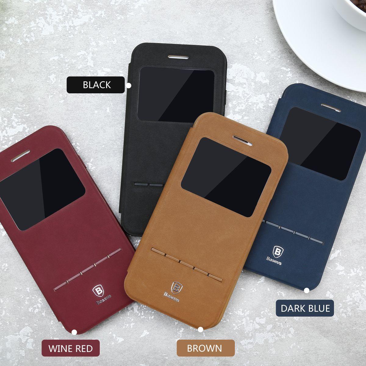 baseus simple flip leather smart cover case for iphone 7 7. Black Bedroom Furniture Sets. Home Design Ideas