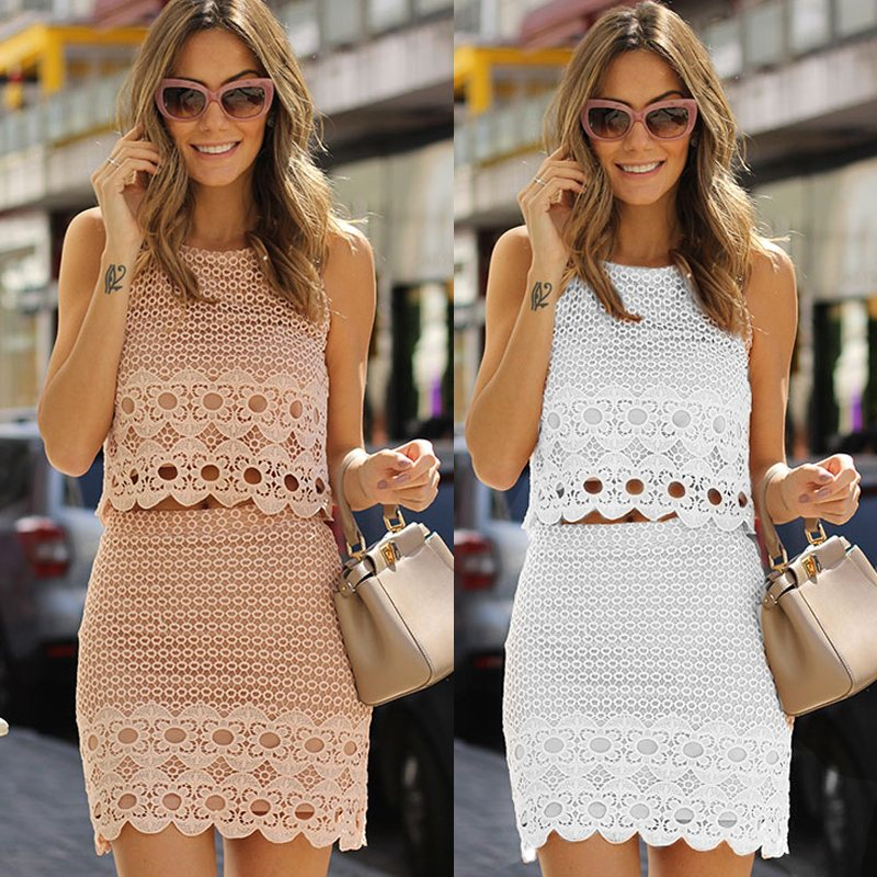 717f0132c8e Women Floral Lace Overlay 3 4 Sleeve Crop Top+Skirt Bodycon 2 Piece ...