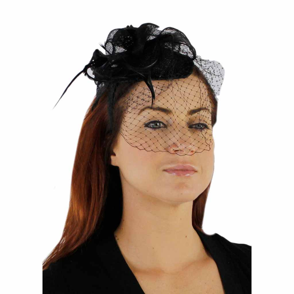 486444288c6 Charisma Sinamay Fascinator Cocktail Hat with Headband and Netting
