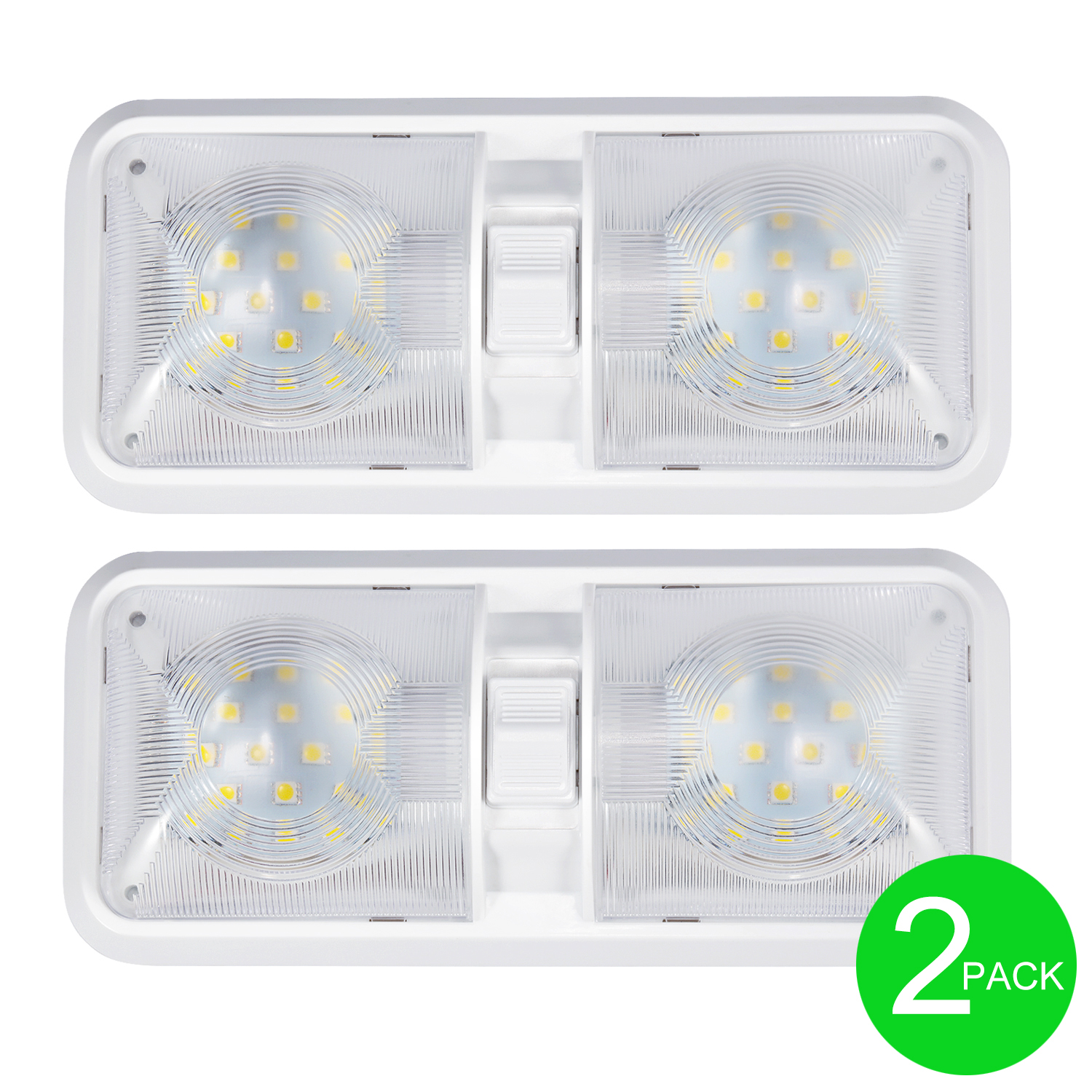 Top 2x12v Led Rv Ceiling Dome Light Rv Interior Lightingtrailer Camper Switch Ebay