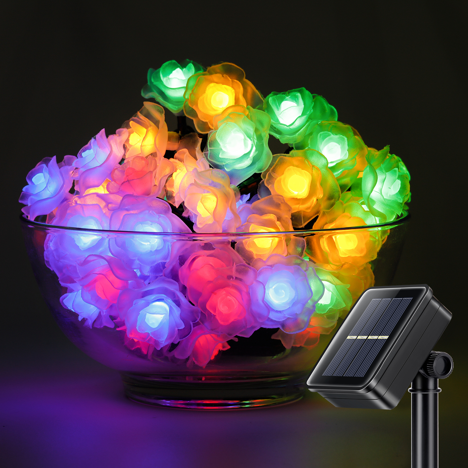 50led 26ft fairy string lights rose flower decorative solar lights outdoor funny ebay - Decorative garden lights ...