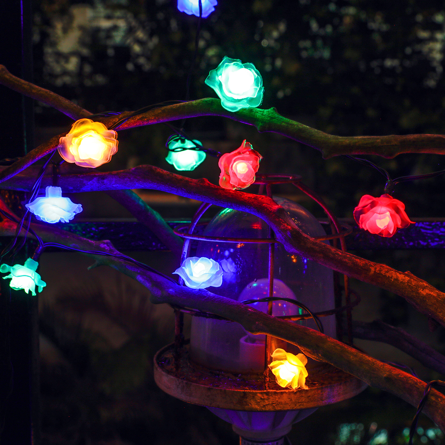 26ft 50led rose blossom multi color solar fairy string lights christmas outdoor ebay. Black Bedroom Furniture Sets. Home Design Ideas